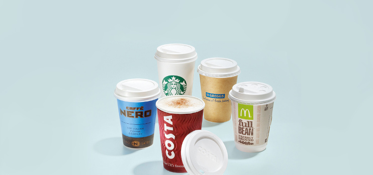 branded paper cups for coffee to go